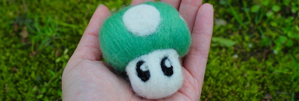 Felted Green Spotted Mushroom