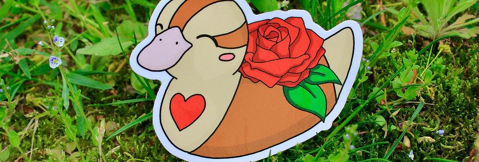 """Red Rose Baby Turtle Duck 3"""" Vinyl Sticker"""