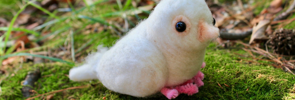 Felted White Dove Bird Sculpture