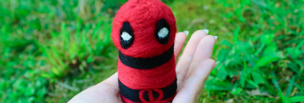 Felted Red and Black Character