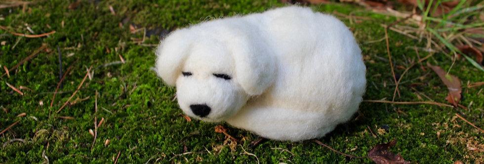 Felted Sleeping White Dog