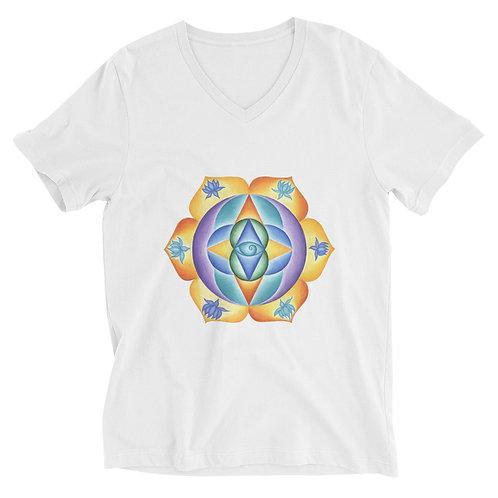 Unisex Short Sleeve V-Neck T-Shirt Solfeggio Mandala 111Hz