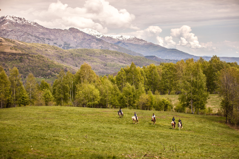 horse riders in a field beside mountains