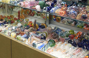 Retail display of glass pipes