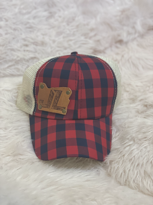 Ladies lace up back red plaid hat