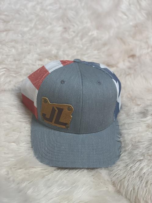 Snapback Trucker Hat Grey/American Flag