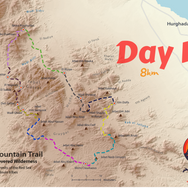 Day 10 is the last day on the RSMT thru hike & the shortest at just 8km. The main objective is getting down the high mountainsides of Jebel Shayib: mainland Egypt's highest peak. The trail is highlighted dark blue, beginning at Jebel Shayib's summit & ending at Um Dalfa, where the hike began over 50 days ago.