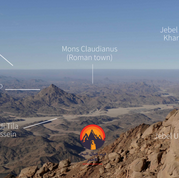 The next section of the RSMT comes into view. After Jebel Um Anab the trail runs down to the wide open spaces of Wadi Tila Hussein, which is followed to Jebel Nasb Umsayri where the trail ends on the second day. On the third day the trail passes the Roman town of Mons Claudianus - hidden behind low desert hills - & Jebel Abu Khareef. Faraway the tablelands around Upper Egypt's Nile Valley are visible. These tabelands are some of the hardest parts of Egypt's deserts to navigate & the Bedouin call them 'El Jilf'.