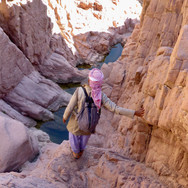 Getting down Jebel Um Anab involves scrambling down rocky gullies & ravines. Waterpools can lie in these shady gullies after rain for months.
