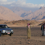A chance meeting. Almost all nomadic families own a pick up truck today, using it to carry tents & possessions between grazing grounds. A teenage Bedouin of the Maaza called Abdullah is driving his family's pick up here collecting wood. When Bedouin meet they always greet each other. Seeing fellow tribesmen in the desert is always a happy moment. Greetings are exchanged which can go on for minutes. News is swapped & invites are made to share tea & coffee. Here Hassan and Abdullah pose for a picture together.