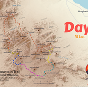 At just 10km day 5 is the shortest day so far on the RSMT & it's highlighted gold. It's the day the half way point is reached & although it's the shortest day it's also one of the toughest with an ascent of the 1535m high peak of Jebel Um Samyook: an isolated black summit in a wilderness of red rock mountains.