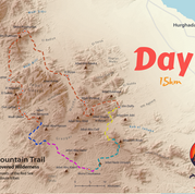 Day 4 is the shortest day so far at 15km & it's highlighted blue. Day 1 is yellow, day 2 pink, and day 3 turquoise. Above the pink trail line is a place called Graygar. This is one of the RSMT's two great plains. The other is called Monfia (to the north). The two plains connect & together form the divide between the eastern & western halves of Egypt's Red Sea Mountains. Day 4 is the first day of walking in the beautiful 'wild west' half of the mountains.