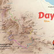 Day 9 is only 16km but it's the toughest day on the whole RSMT, with an ascent of mainland Egypt's highest peak: the 2187m Jebel Shayib. Hikers sleep on the summit & carry all their water, food & sleeping gear, with camels unable to negotiate the mountain's tricky crags & support the journey as they do on other, easier sections. The route for day 9 is highlighted grey.