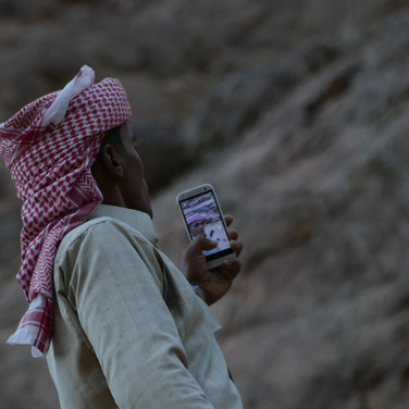 Mohammed gets a last selfie on the trip. Many Bedouin around the RSMT - especially those who live between the desert and towns & most RSMT guides - have social media accounts today.