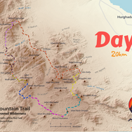 Day 7 is one of the RSMT's toughest days covering 20km & ascending the high peak of Jebel Abu Dukhaan. It's highlighted light pink & is the day we enter the most northerly parts of the RSMT, moving from the red rock wilderness of Jebel Gattar into a realm of dark purple stone.