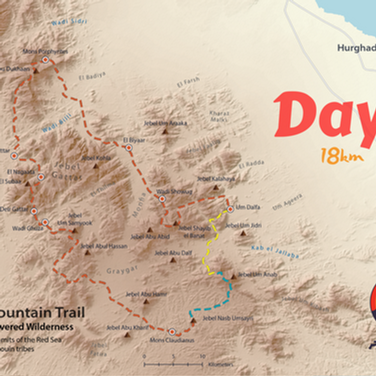 The RSMT is a 170km hiking circuit in the beautiful highlands of Hurghada. The yellow line shows the first day: a walk of nearly 20km from the Bedouin village of Um Dalfa to the bottom of a mountain called Jebel Um Anab. On the second day the trail leads over Jebel Um Anab to a labyrinth of lowland wadis called Tila Hussein & is highlighted turquoise.