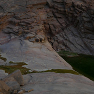 Deep green pools gather in the wadi below the dripping spring of El Nagaata.