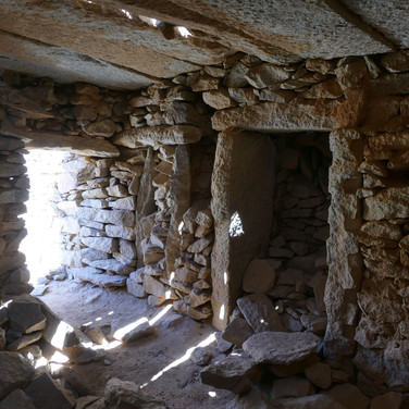 Some of the rooms have their stone roofs in place, giving excellent shelter in cold weather.