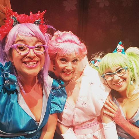 Pitti-Sing with Yum-Yum and Peep-Bo, on-stage selfie during The Mikado with Chautauqua Opera, 2016