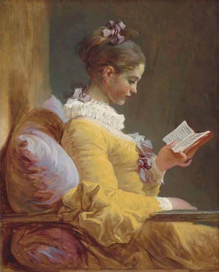 Young Girl Reading Decoupage (Reversed)