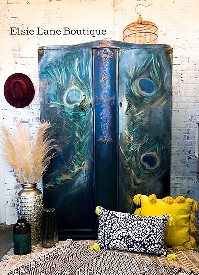 Hand Painted Peacock Wardrobe