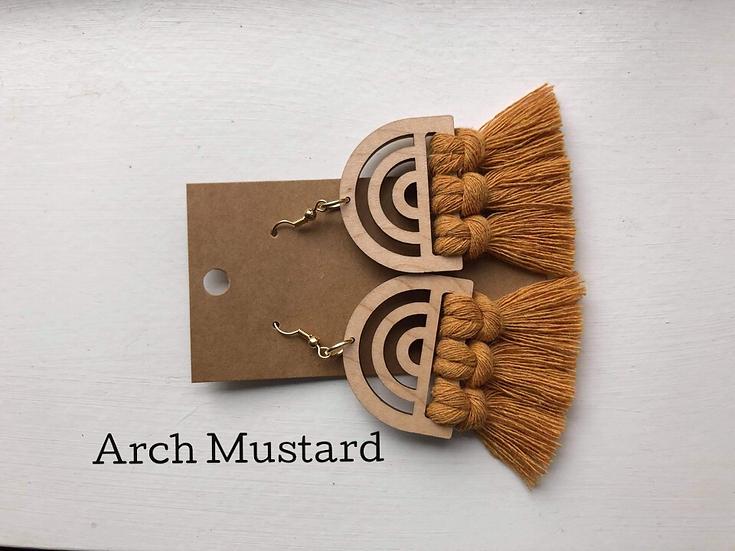 Mustard Arch/Macrame Earrings