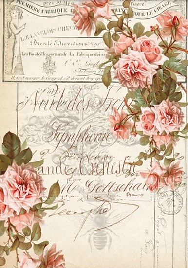 Floral Ephemera Decoupage Paper