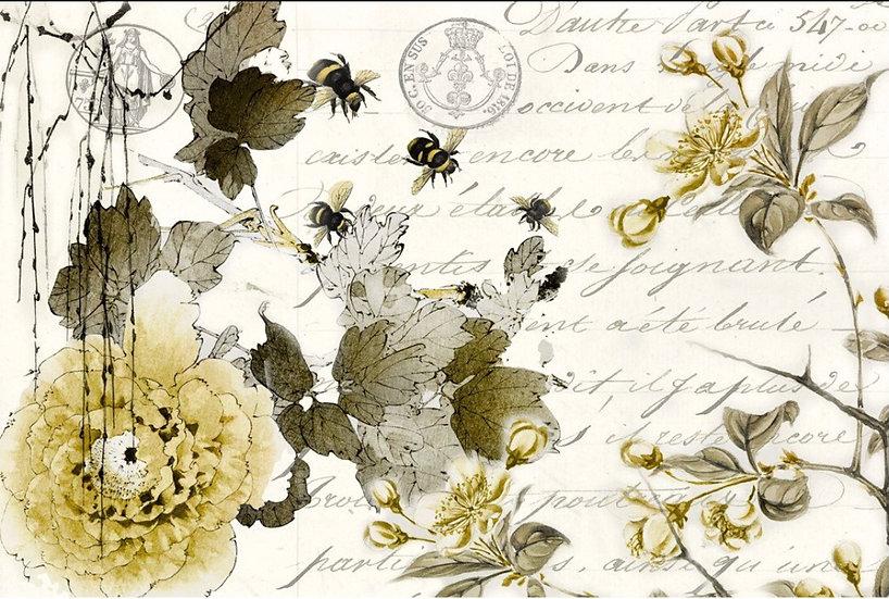 Sepia Blossoms Decoupage Paper