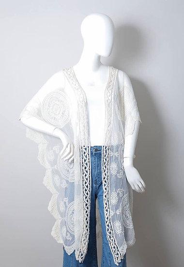White Crochet Border Mandala Lace Kimono
