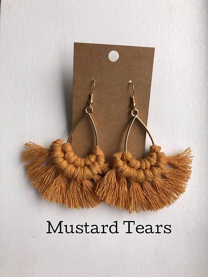 Mustard Tears/Macrame Earrings