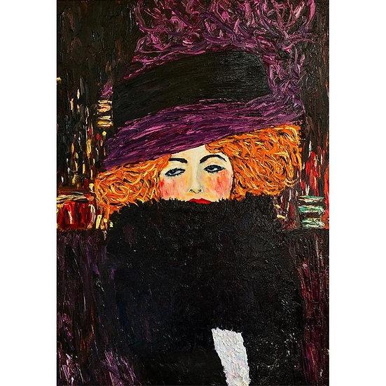 Purple Hat - Decoupage