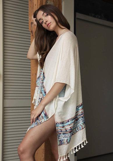 White Embroidered Trim Kimono with Tassels