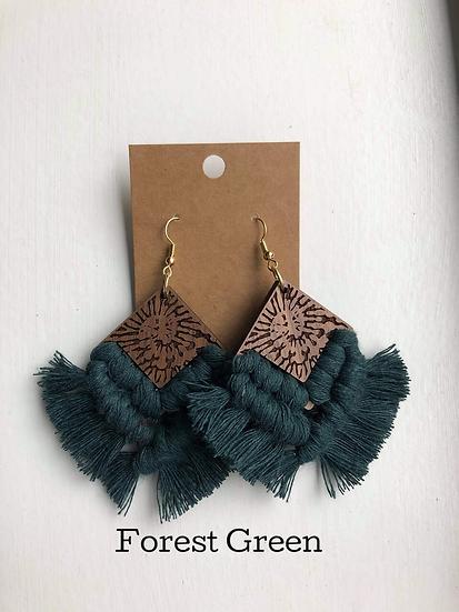 Forest Green Tie Die/Macrame Earrings