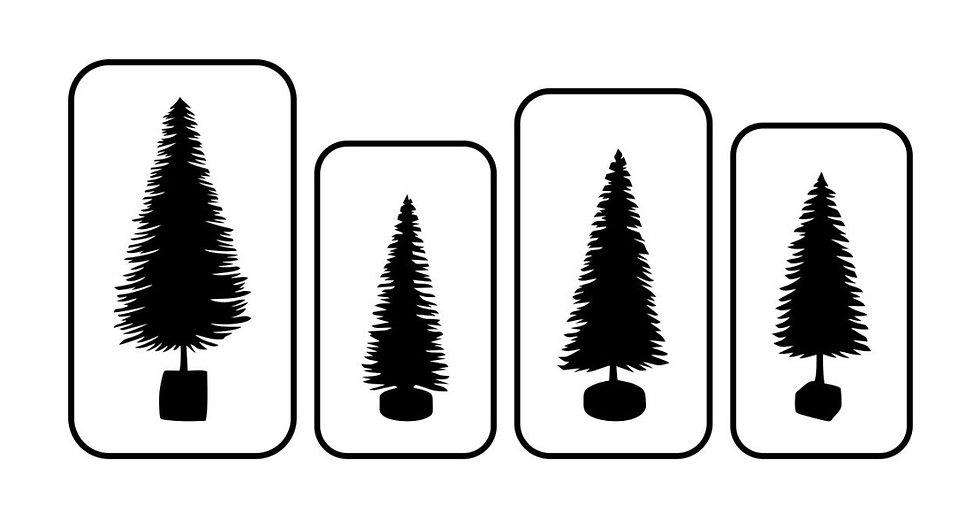 4 Set Bottle Brush Trees JRV Stencils