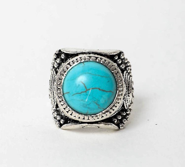 Sticks and Stones Faux Turquoise  Adjustable Ring
