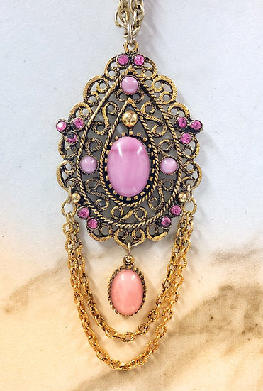 Vintage Necklace with Pink Stones