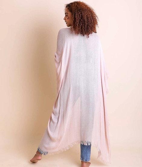 Blush Open Weave Drape Kimono