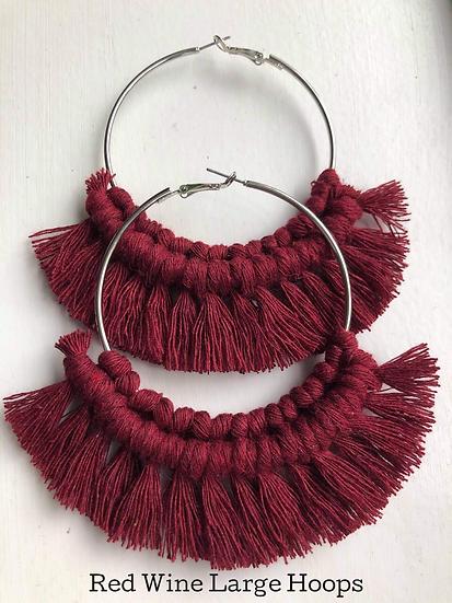 Red Wine Large Hoops/Macrame Earrings
