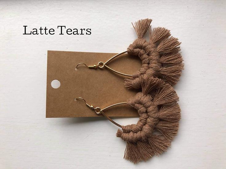 Latte Tears/Macrame Earrings