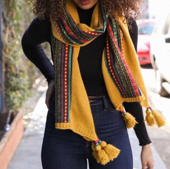 Bohemian Knit Braided Tassel Bead Scarf