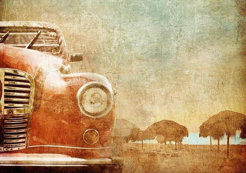 Vintage Red Car - Decoupage