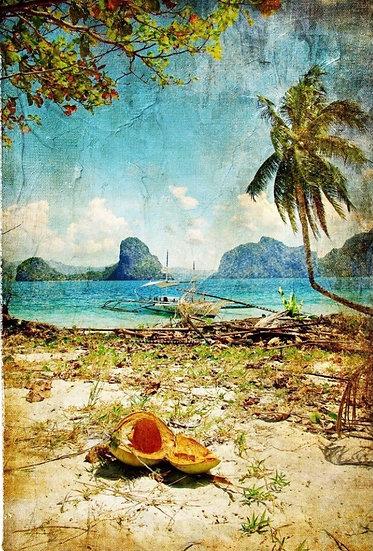 Tropical Beach Decoupage