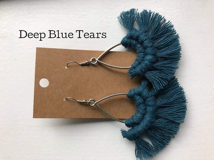 Deep Blue Tears/Macrame Earrings