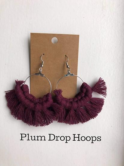 Plum Drop Hoops/Macrame Earrings