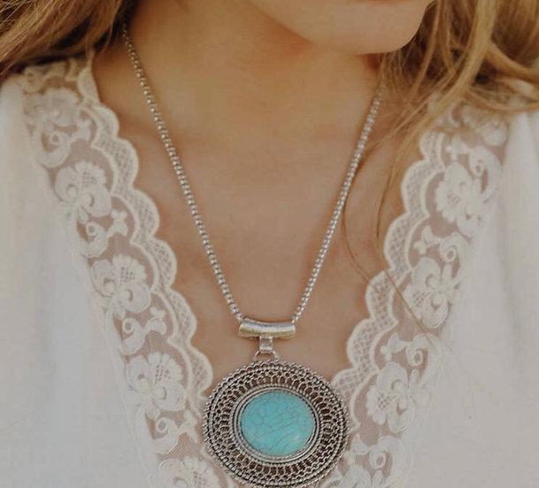Faux Turquoise Sunrise Necklace