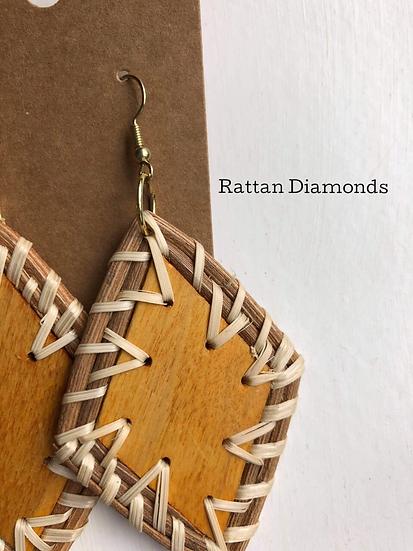 Rattan Diamonds/Macrame Earrings