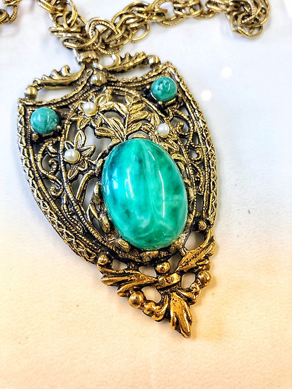 Vintage Faux Jade Shield Pendant