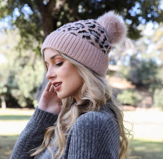 Pink and Black Leopard Print Hat