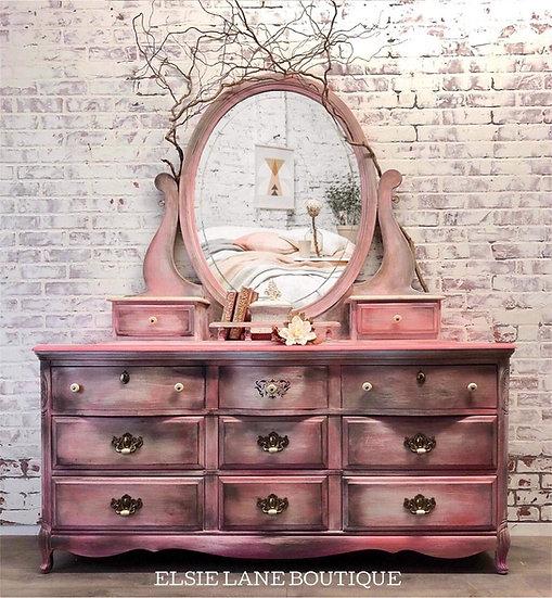 Blended Pink Nine Drawer Dresser with mirror SOLD