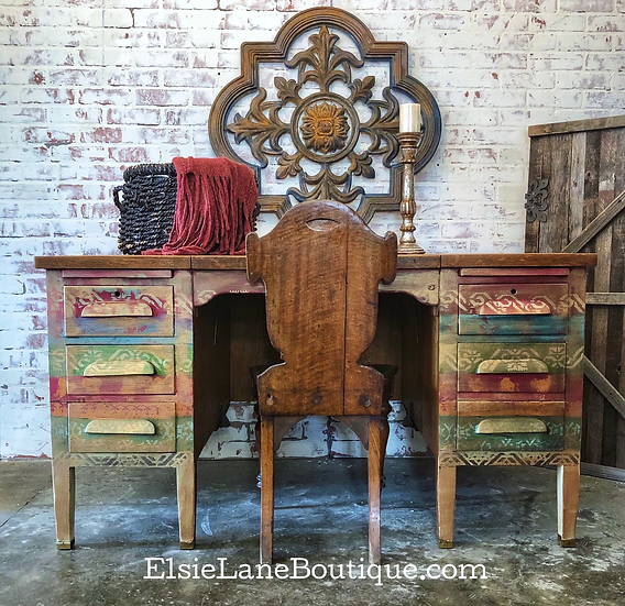 Rustic Bohemian Style Desk, Boho Farmhouse Painted Desk, Eclectic Hand Painted H